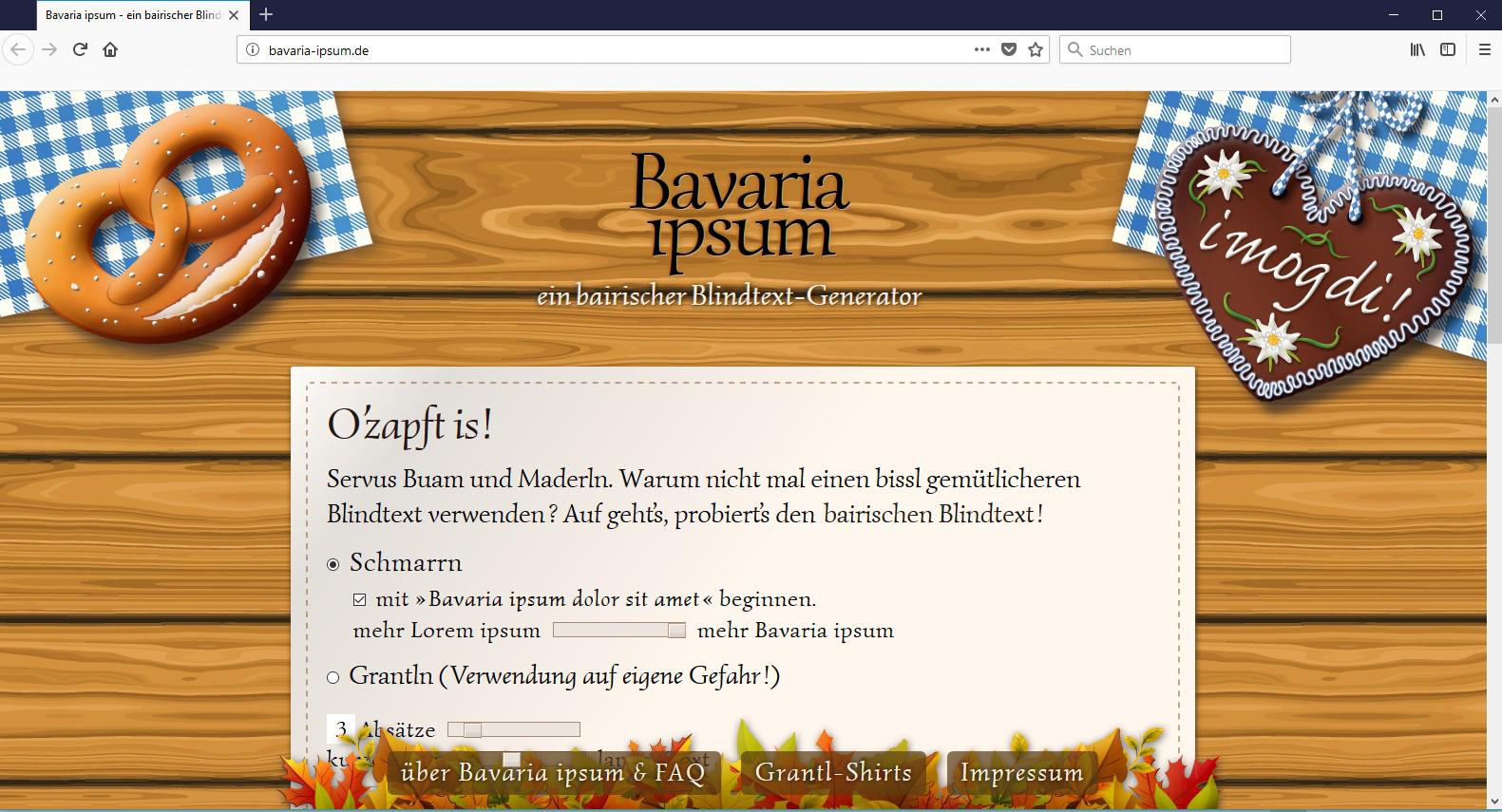 En echte bairische Blindtext gibt es nur im Bavaria Ipsum.