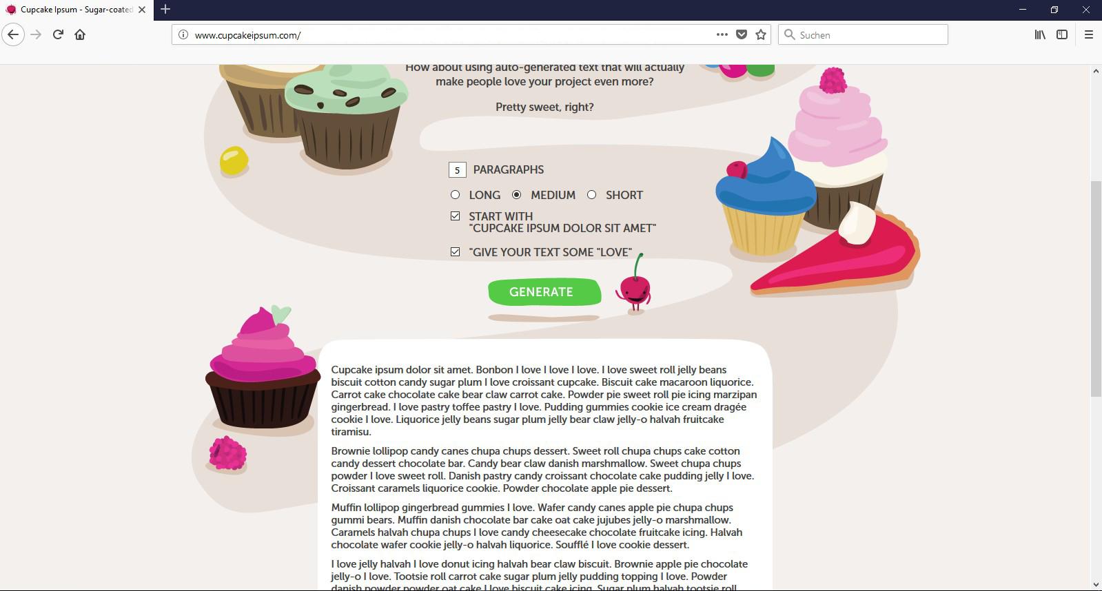 Eine schöne und leckere Alternative bietet das Cupcake Ipsum.
