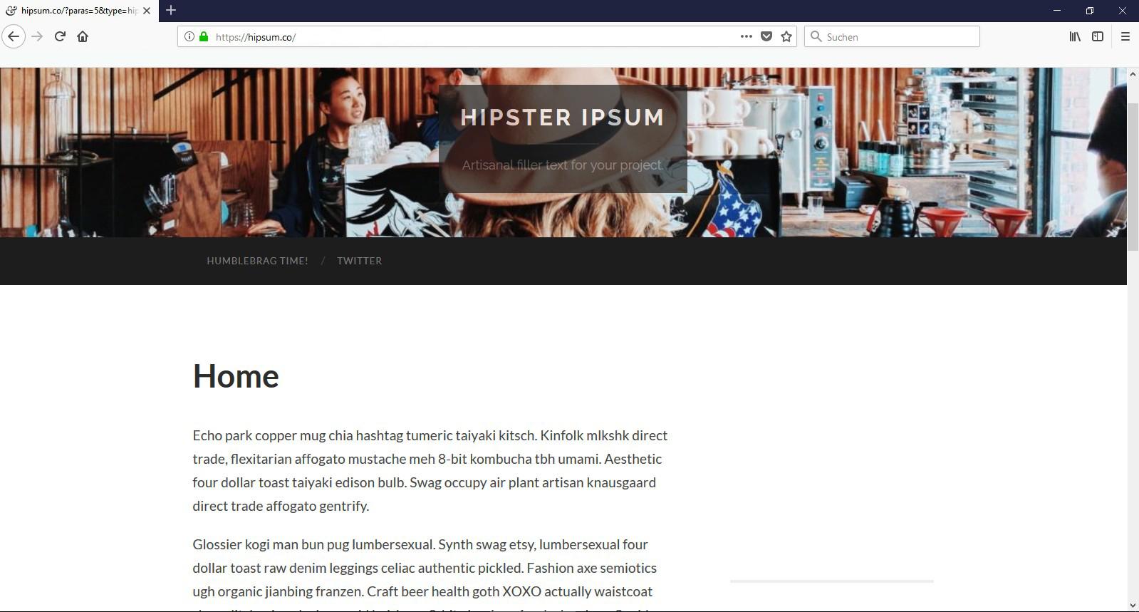 Sie sind ein echter Hipster? Dann nutzen Sie doch den dazu passenden Blindtext: Das Hipster Ipsum!