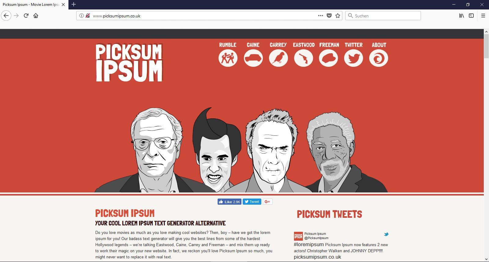 Für echte Schauspielfans gibt es natürlich auch eine optimale Ipsum Alternative: Das Picksum ipsum.