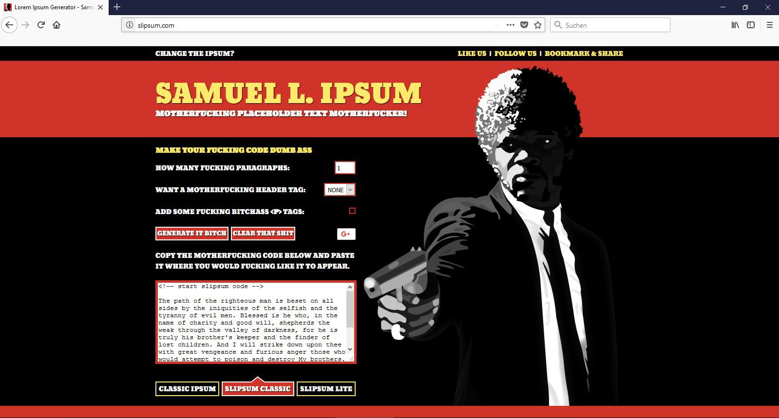 Blindtext für Freunde von Samuel L. Jackson gesucht? Dann werden sie über diesen Fund besonders glücklich sein: Das Samuel L Ipsum.