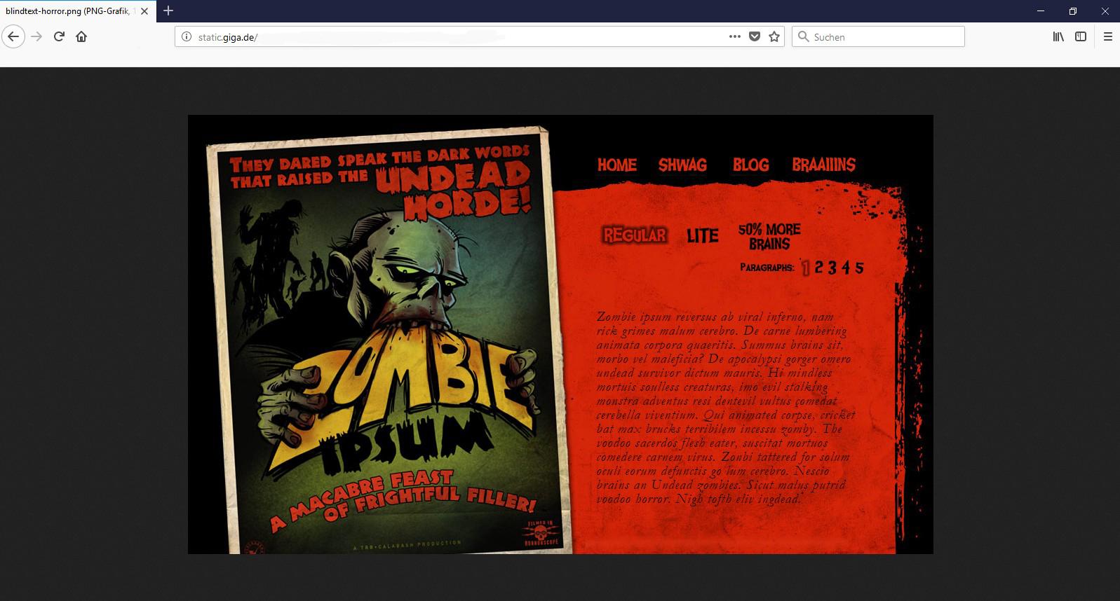 Bei der Zombie Ipsum Alternative kommen alle auf ihre Kosten, die dem Horrorgenre verfallen sind.