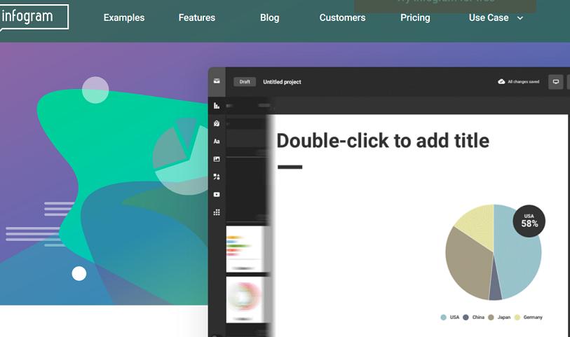 Bei diesem Online-Editor für Infografiken geht es vor allem darum, übersichtliche Charts und Grafiken für das Onlinemarketing zu erstellen. (#02)
