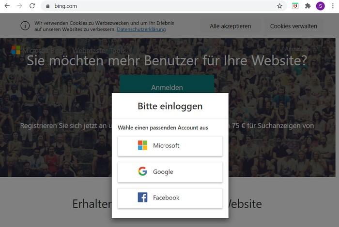 Mit den Bing Webmaster Tools können Sie Ihre Webseite bei Bing anmelden.