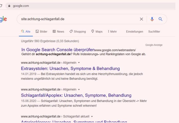Die Liste der bereits indexierten Seiten in Google zeigt den Grad der Indexabdeckung bei Google an.