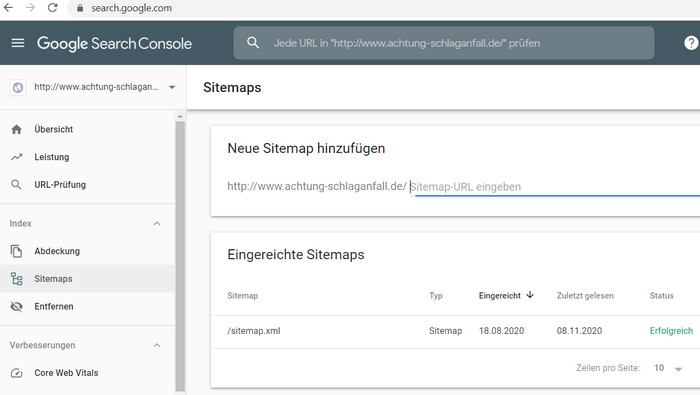 Google Search Console:  die Webseite bei Google eintragen und die Sitemap einreichen.